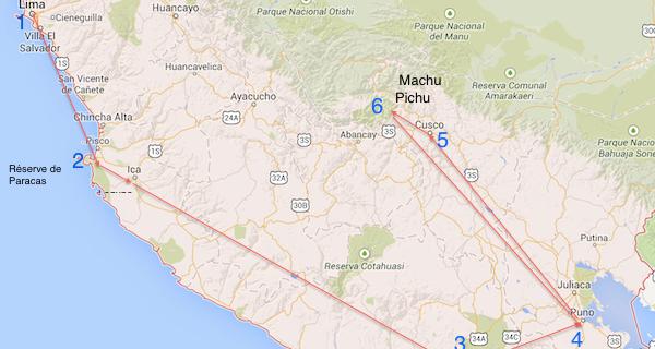 Itinéraire prévu au Pérou