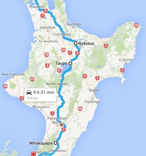 Itinéraire prévu en Nouvelle-Zélande
