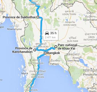 Itinéraire prévu en Thaïlande