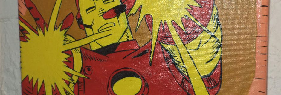 Cuadro de Iron Man Retro pintado a mano con acrílicos
