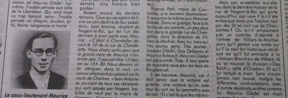 Le résistant Maurice Glédel aura toujours 20 ans pour l'éternité...