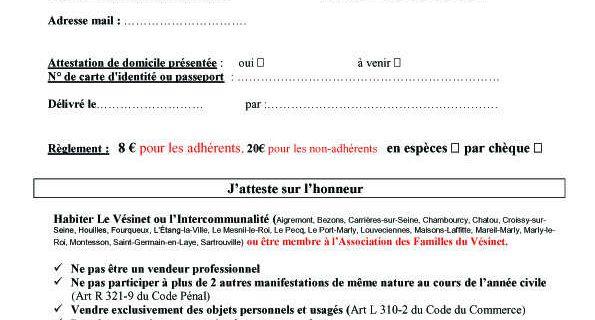 Documents à prévoir pour les inscriptions Brocante
