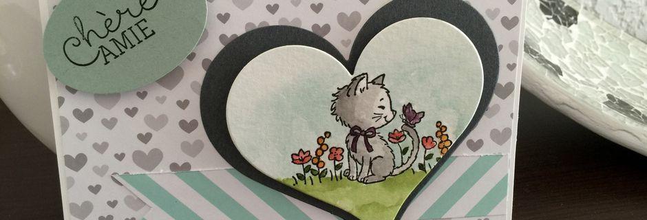 Carte pour une amie... avec ptit chaton