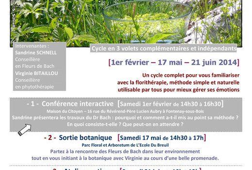 """Initiative en transition : Conférence interactive """"Les fleurs de Bach""""  le samedi 1 février à 14h30"""