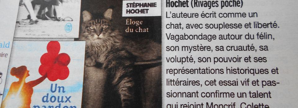 "Eloge d'""Éloge du chat"" dans Version Femina"