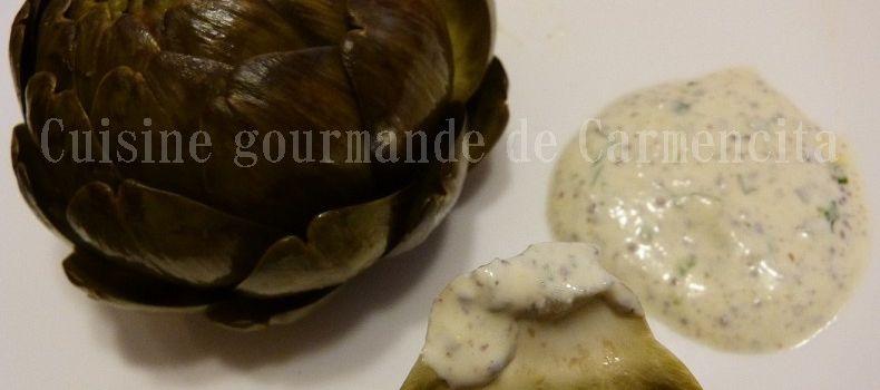 Artichaut Sauce au yaourt grec à l'ail des ours et moutarde ancienne