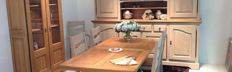 salle manger rustique en ch ne blanchi. Black Bedroom Furniture Sets. Home Design Ideas