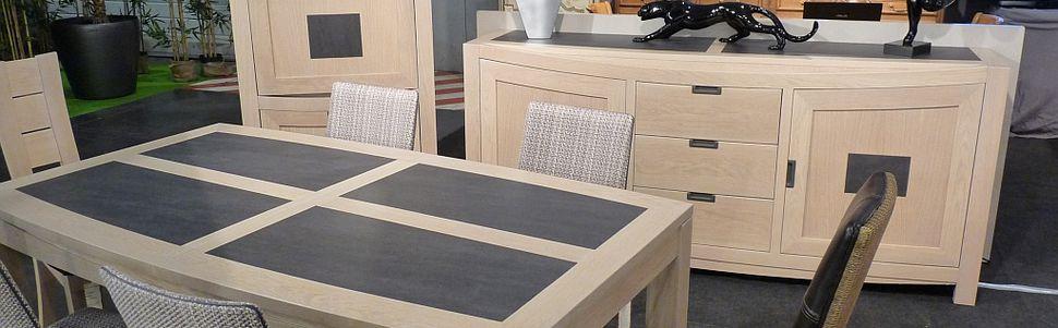 Salle manger moderne bali en ch ne blanchi et c ramique for Salle a manger en chene massif moderne