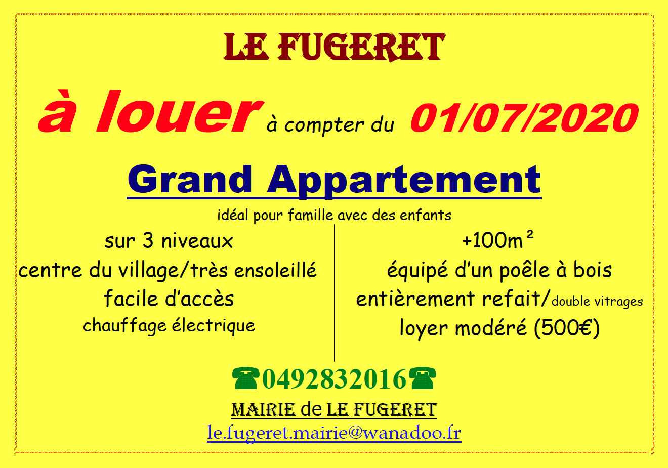 Le Fugeret  :  Affiche location d'appartement