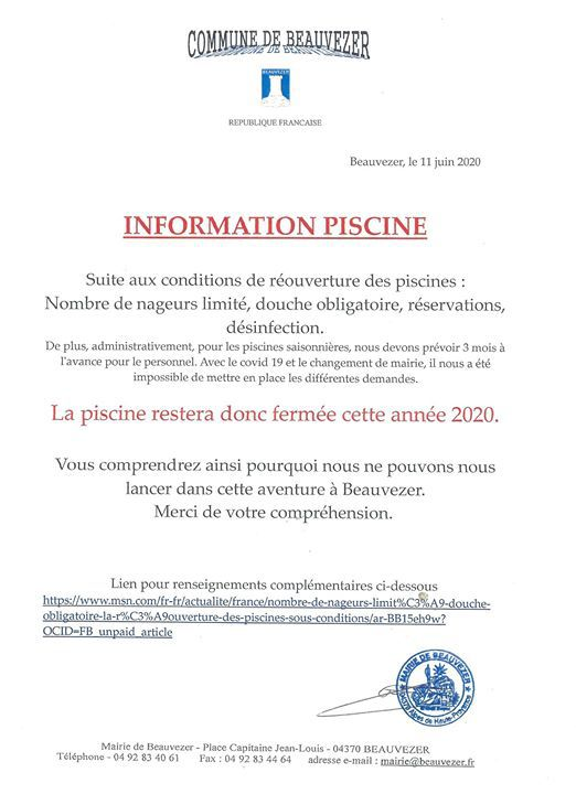 Beauvezer ;Affiche information piscine