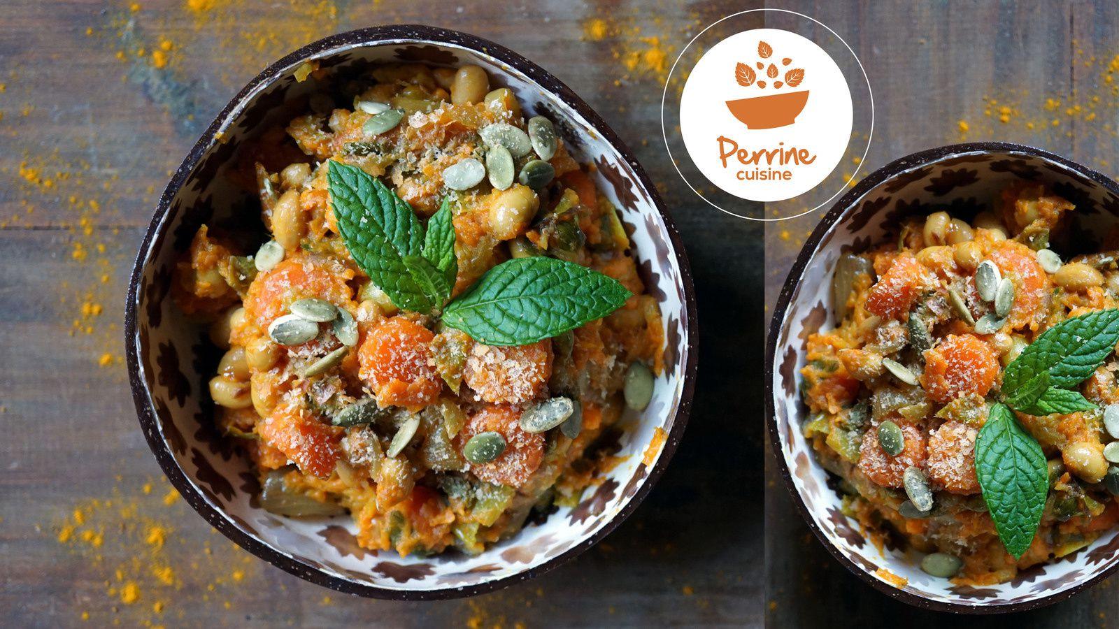 Fondue de légumes au curcuma et graines de soja Perrine cuisine