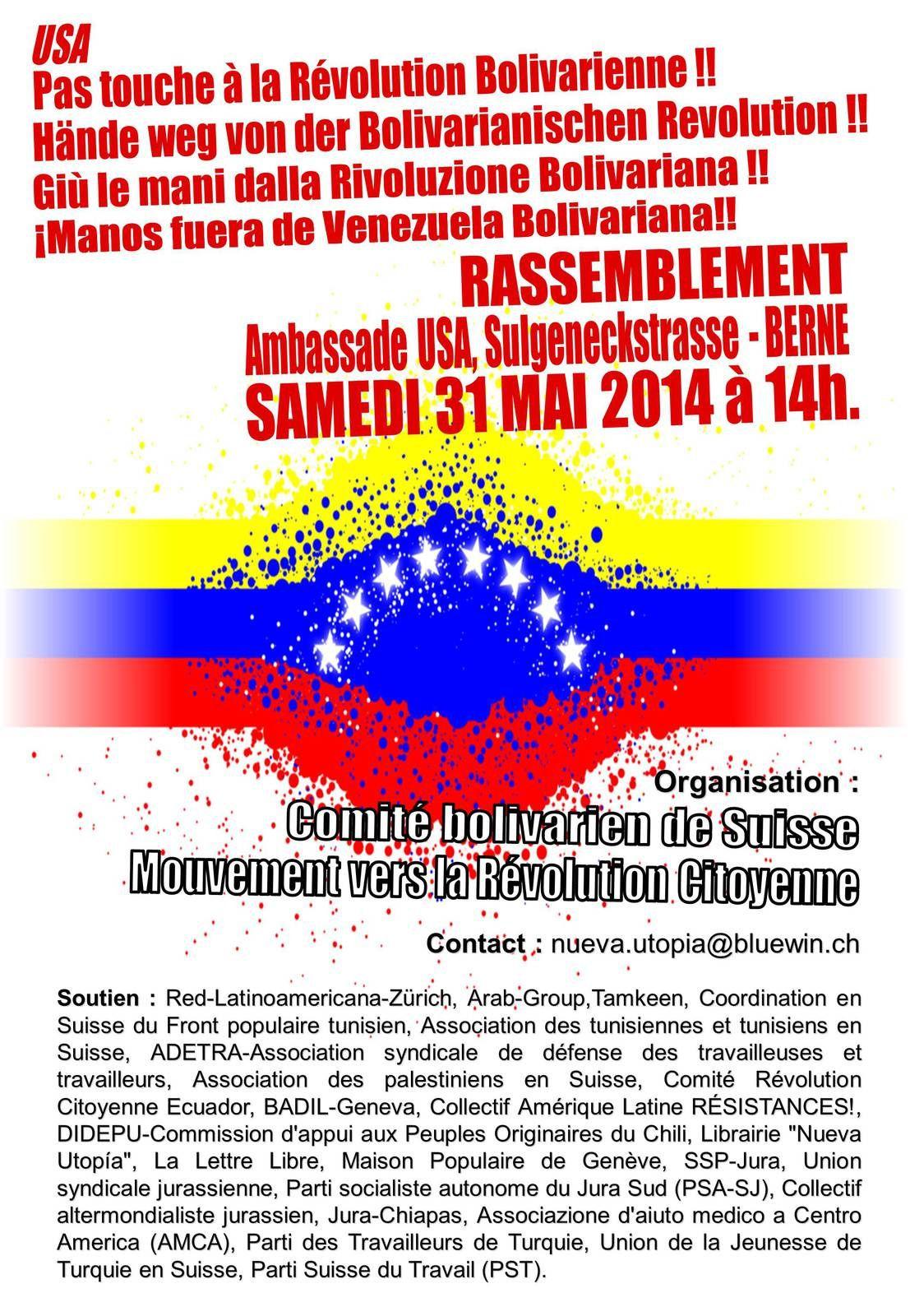 Äussern wir unsere Unterstützung zur Bolivarianischen Revolution!