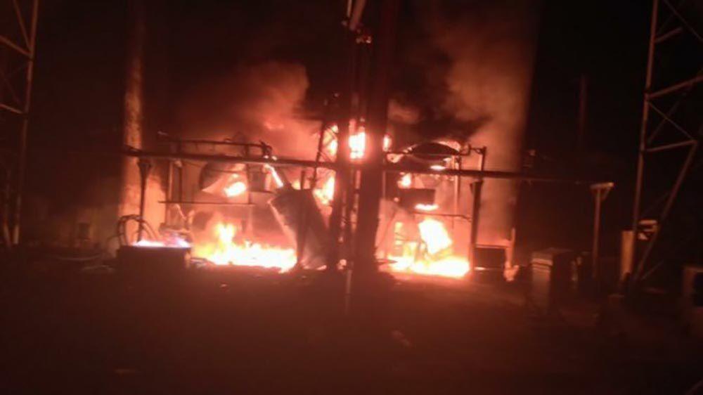 Incendie qui s'est produit dans la cour des autotransformateurs de la centrale hydroélectrique de Guri
