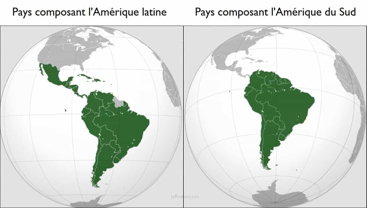 Carte de la différence entre la composition de l'Amérique du Sud et de l'Amérique latine en fonction des pays qui les composent.