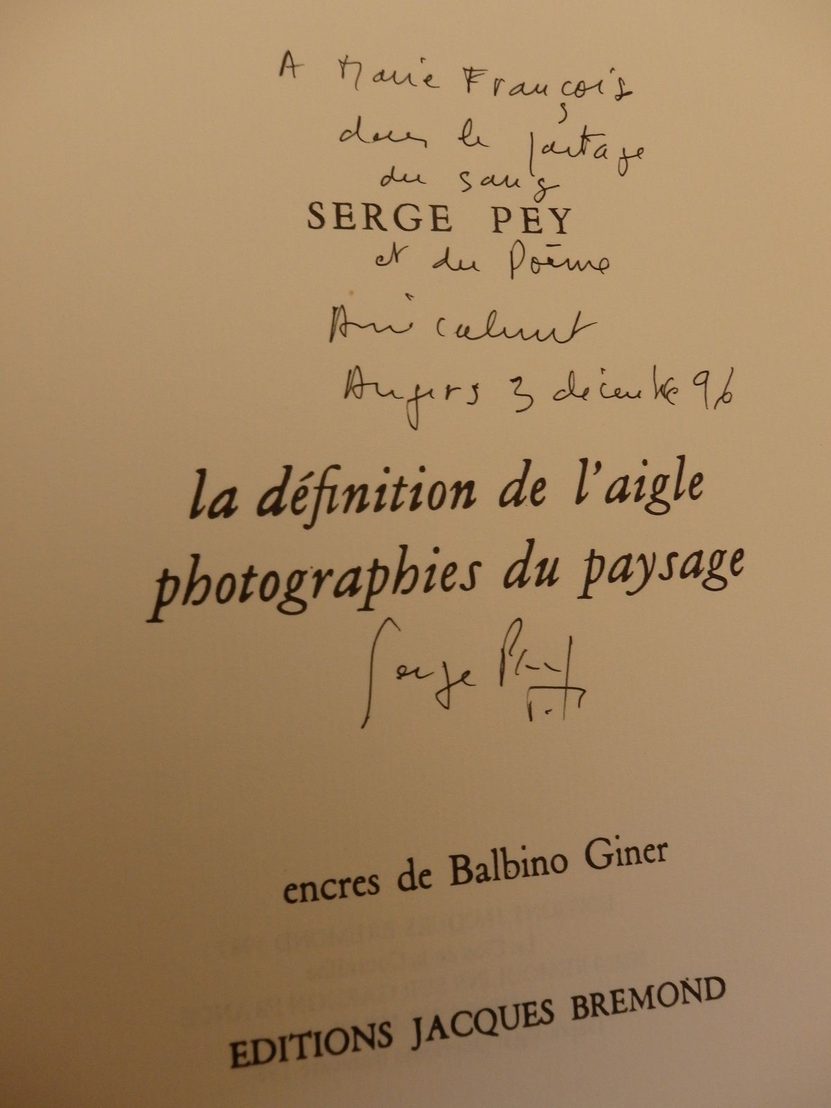 Serge Pey, la définition de l'aigle