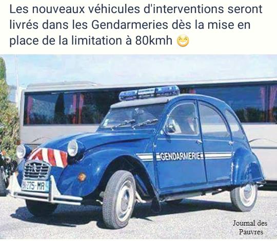 Nouveaux véhicule des gendarmes limités à 80 km/h