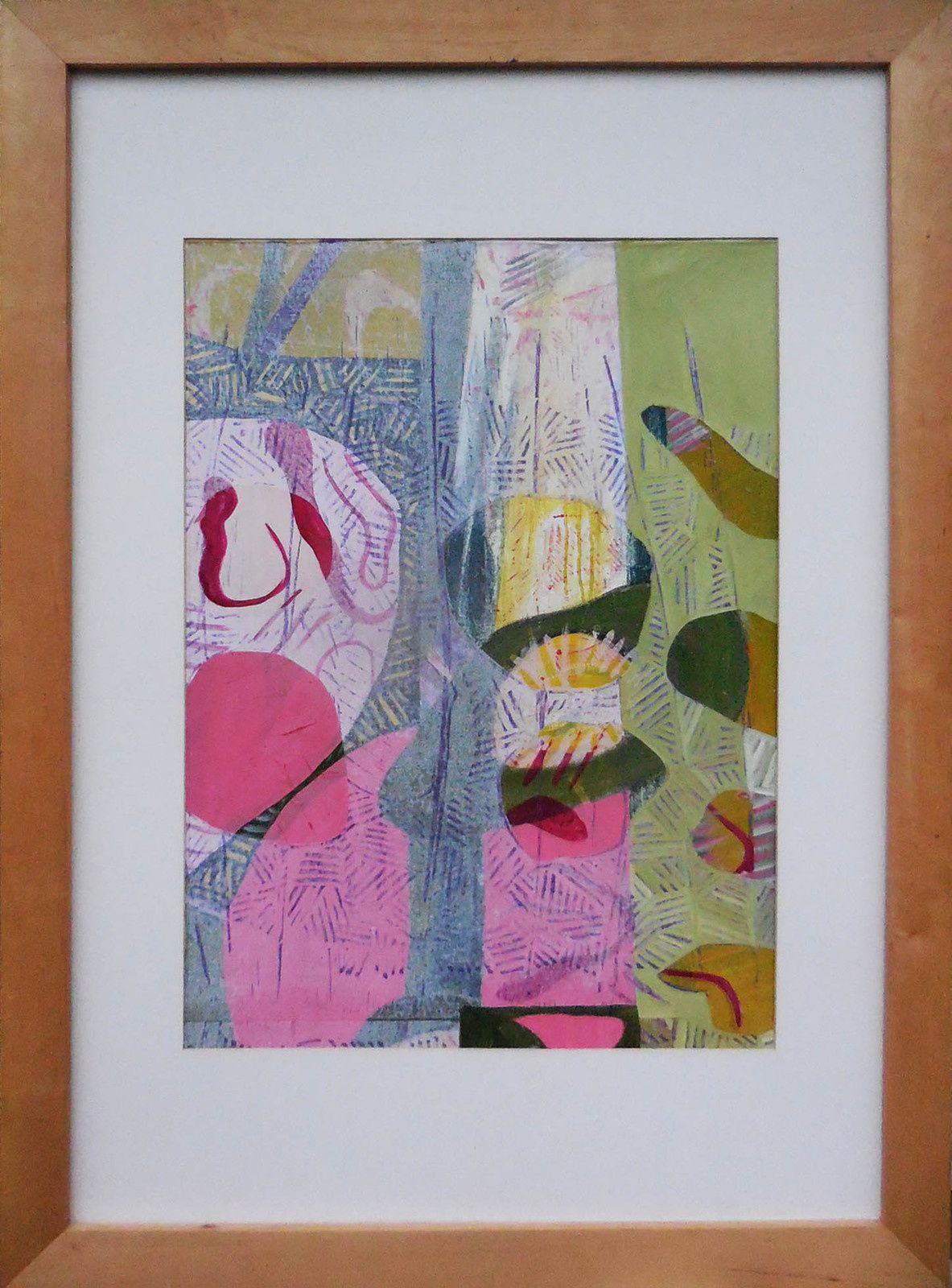 sans titre, série H/Ors / sans titre, sous-bois, huile et collage / Papier / toile 100 x 70 cm, 2017