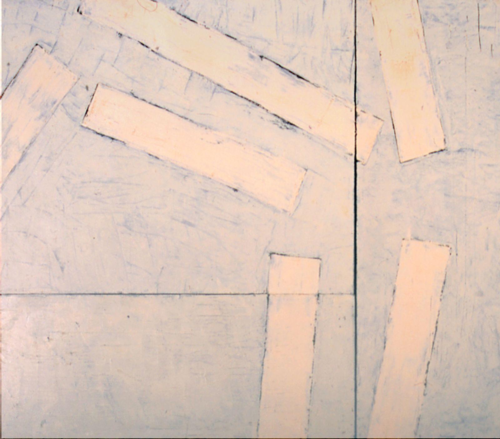 toile bleu 2, 240 x 180 cm; huile sur bois