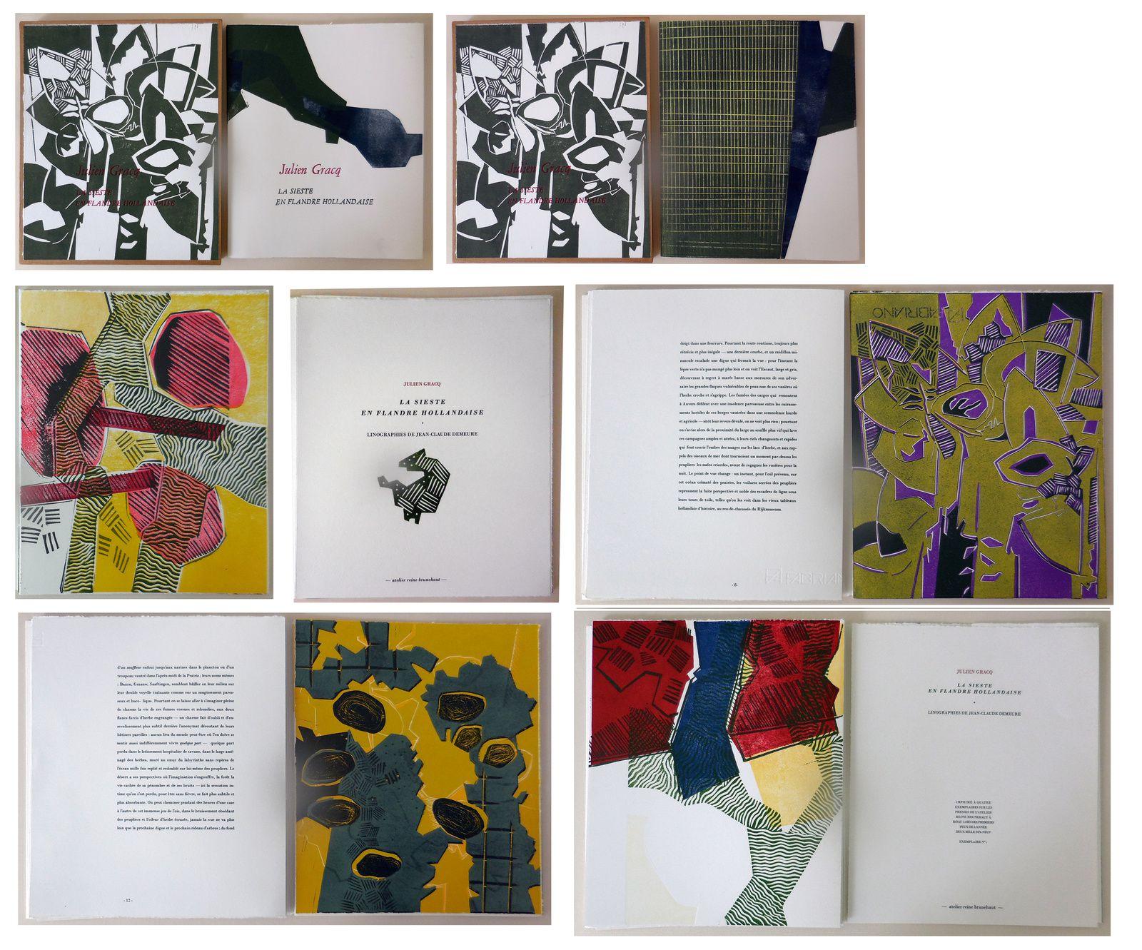 La sieste en Flandre Hollandaise, texte de Julien Gracq accompagné de 4 linogravures, 30 x 25 cm, 16 pages, édité à quatre exemplaires, 2019