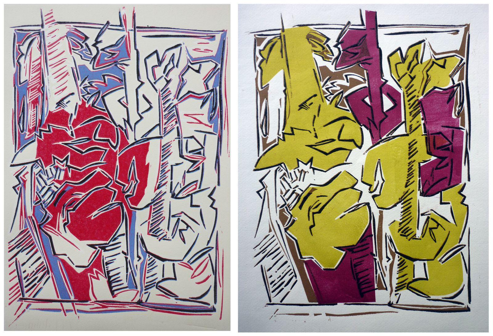Serie ronciers : linogravures à quatre couleurs, 30 x 45 cm, 2019