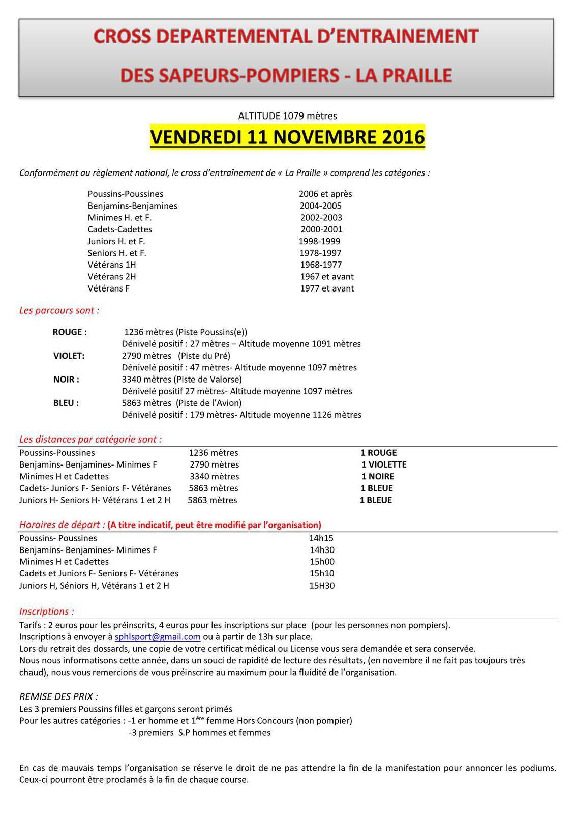 Cross départemental des sapeurs pompiers... vendredi 11 novembre.