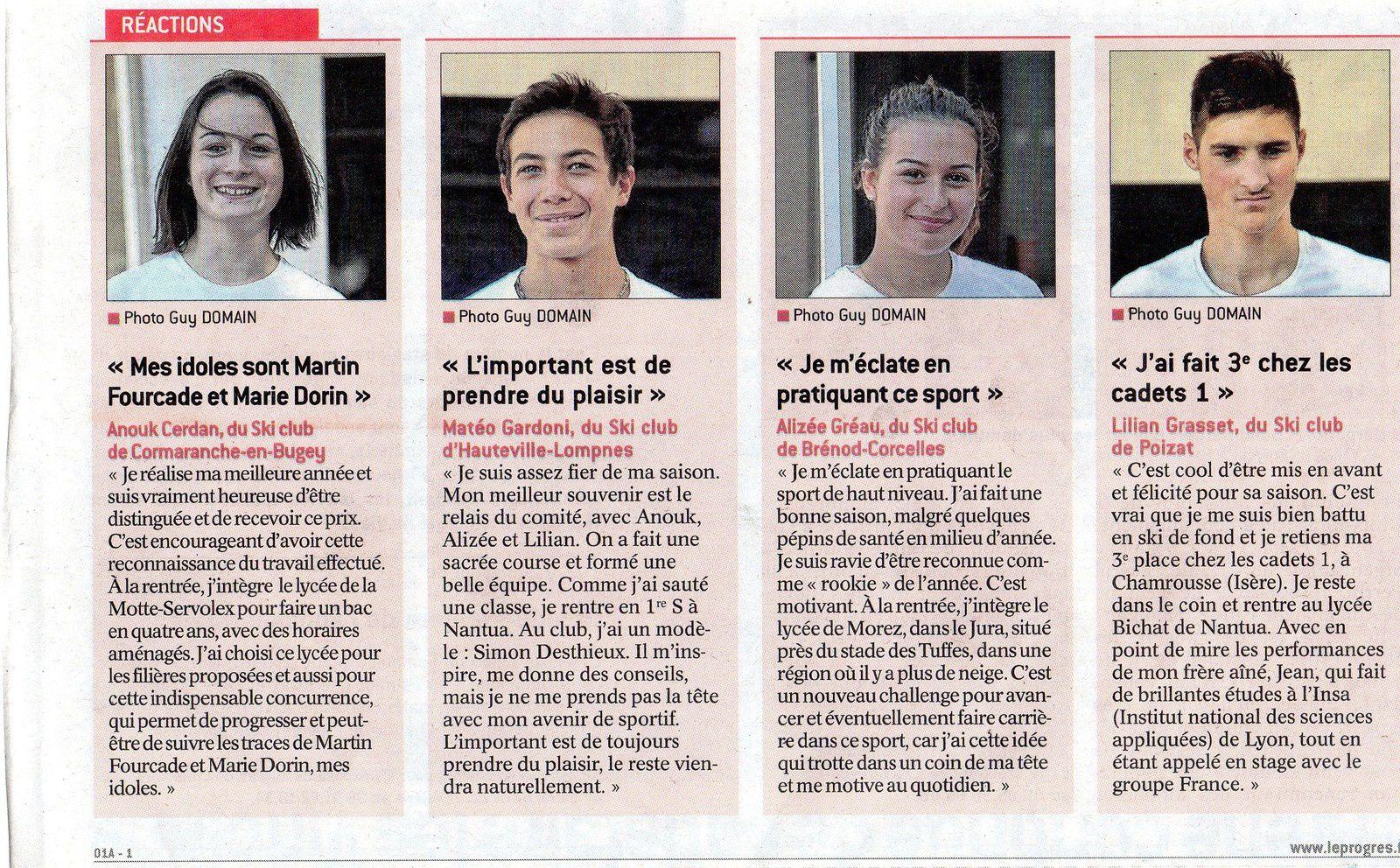 Article du jeudi 03/08/2017... Le Progrès.