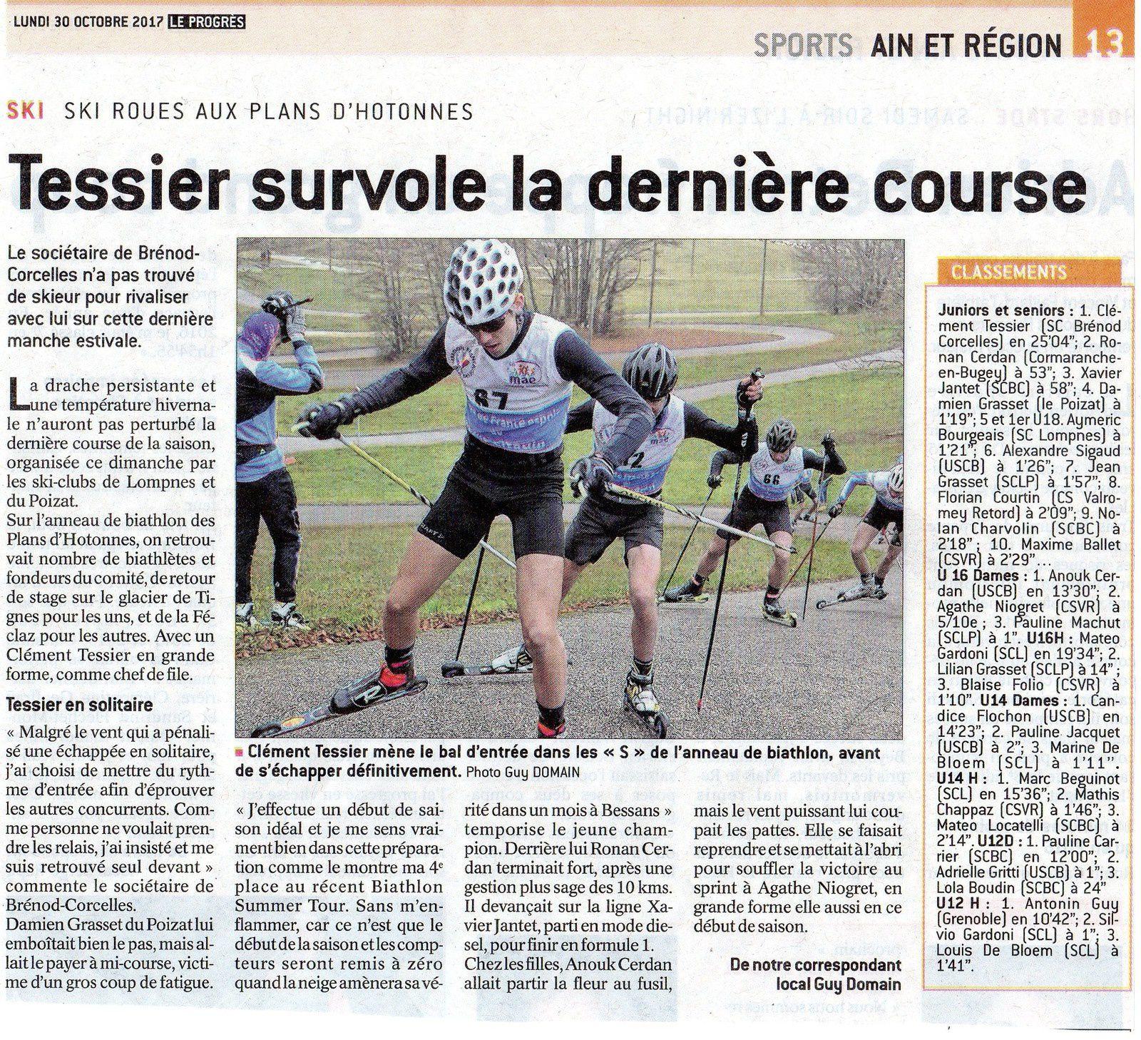 Résultats mass start ski-roues au Plans d'Hotonnes.