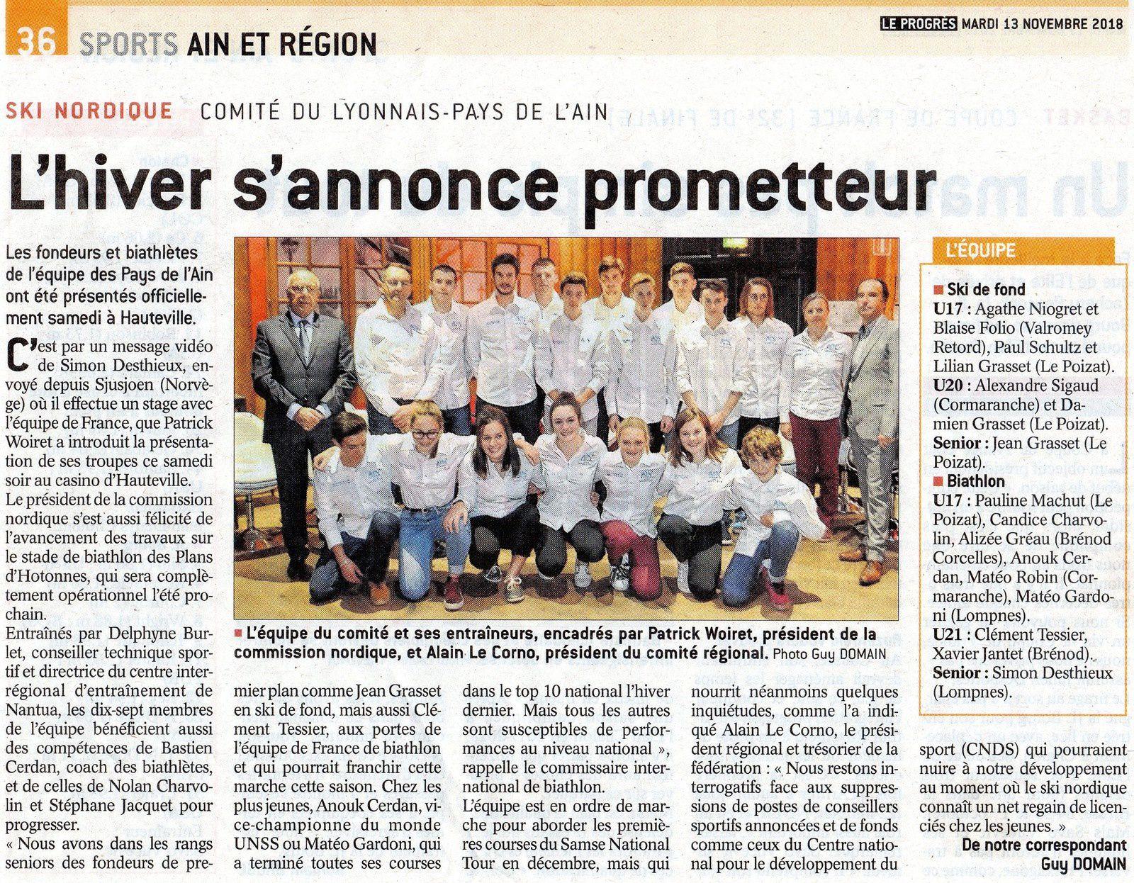 Présentation des équipes Fond et Biathlon du Comité Lyonnais-Pays de l'Ain.
