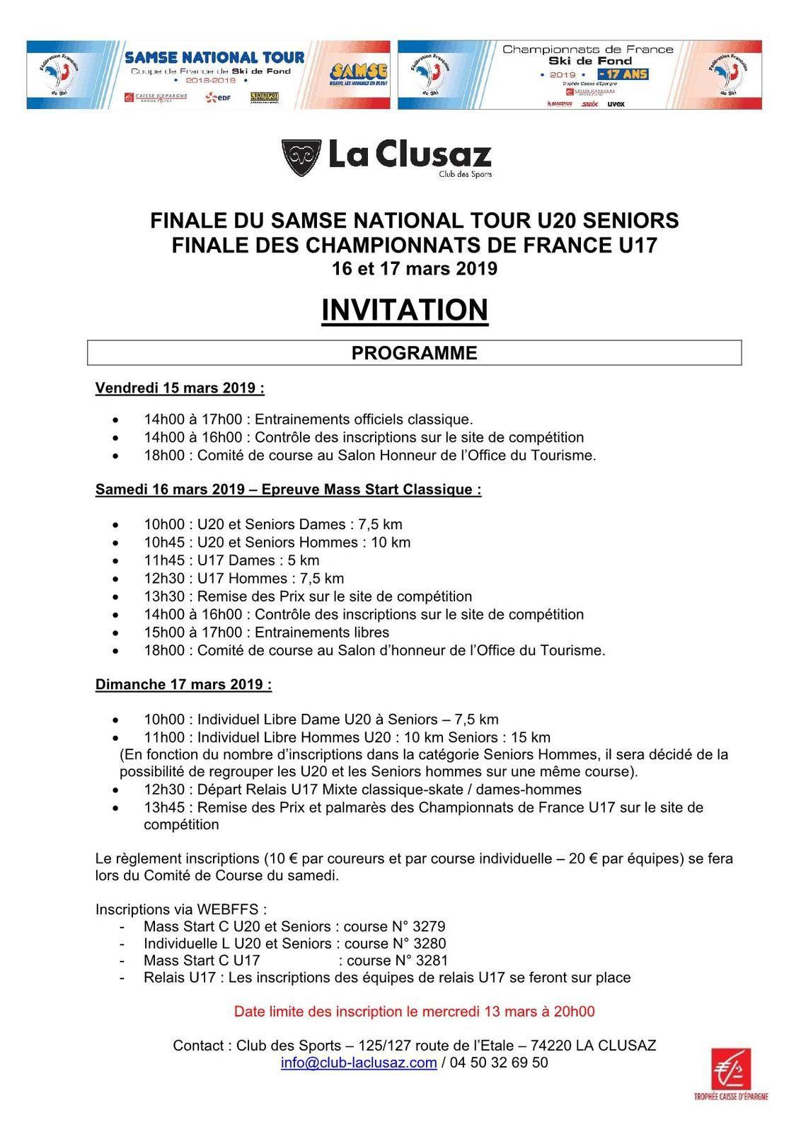 Finale des championnats de France U17 à La Clusaz.