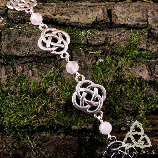bijou bracelet celtique Fylenwe noeuds entrelacs pierre gemme quartz rose clair argenté elfique médiéval féerique païen wicca magie ésotérisme cadeau mariage noël