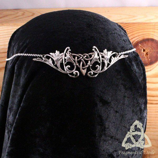 bijou diadème tiare couronne elfique Valdorian volutes argenté Triquetra celtique médiéval féerique victorien elfe païen wicca ésotérisme magie cadeau mariage