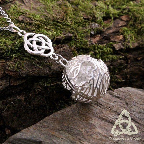 Collier elfique Arbre aux Elfes Arbre de Vie Yggdrasil Cristal de Roche médiéval elfe sylvestre pierre mariage païen ésotérisme