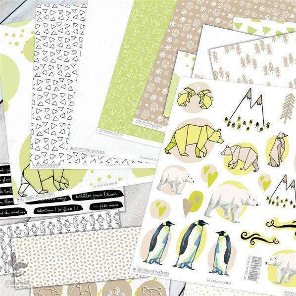 papier, blanc, noir, vert, la grande ourse, scrap-plaisir, scrapbooking