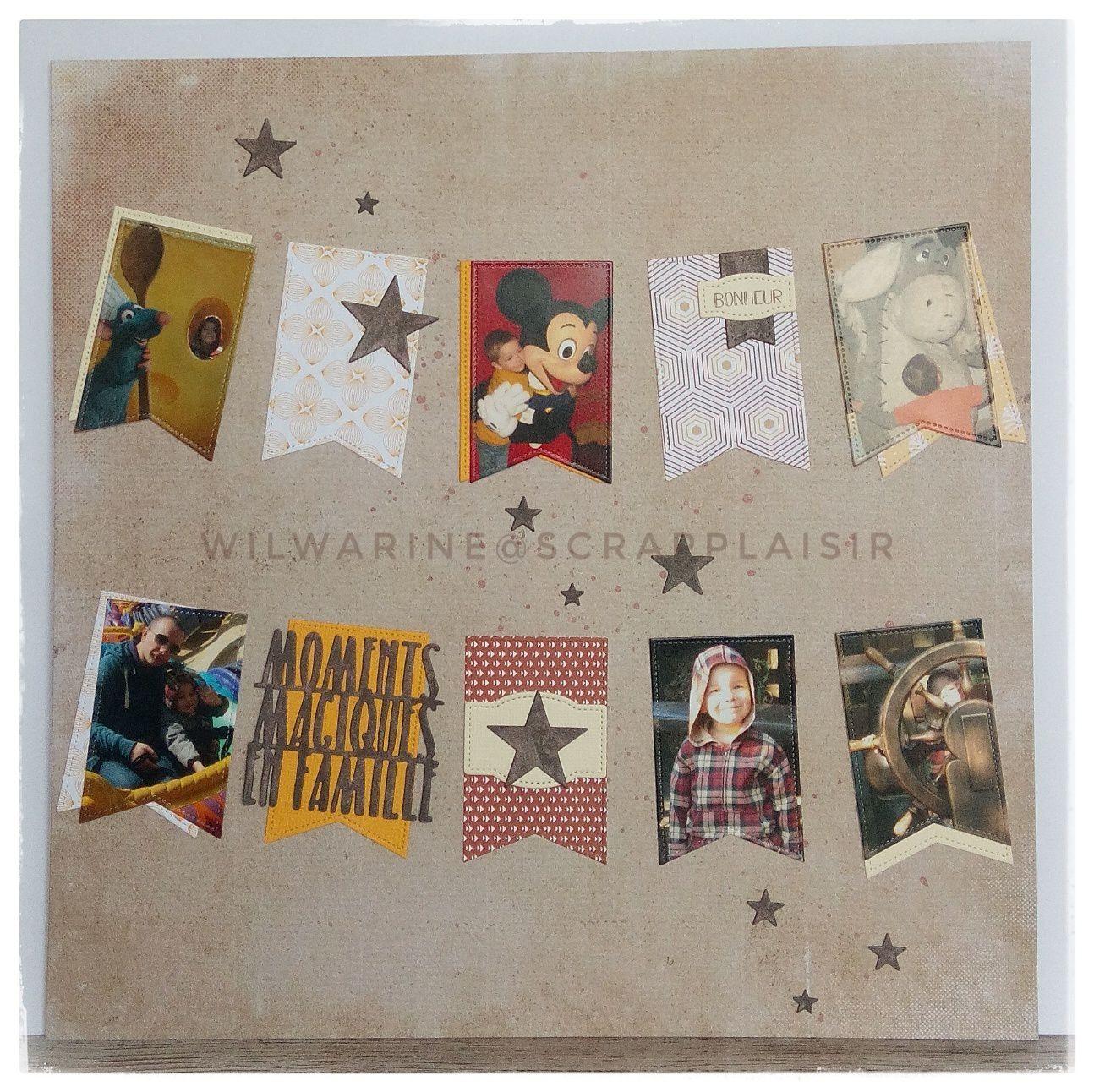 page de scrap, scrapbooking, automne, fanions, étoiles, Scrap Plaisir