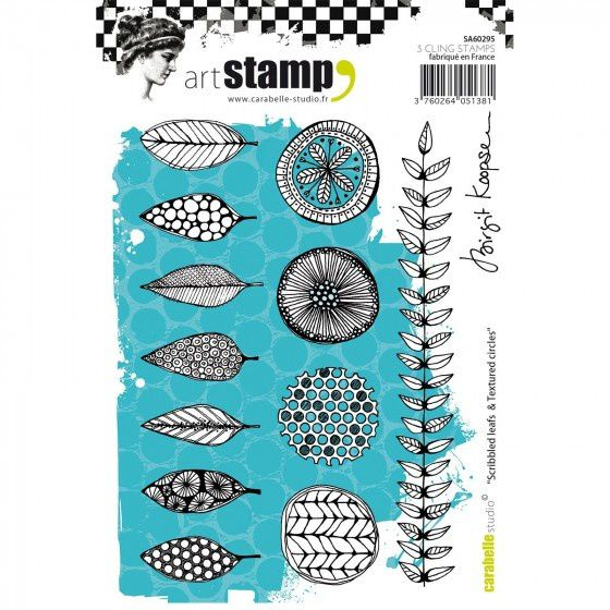 stamp tampon 'scribbled leafs and textured circles' carabelle