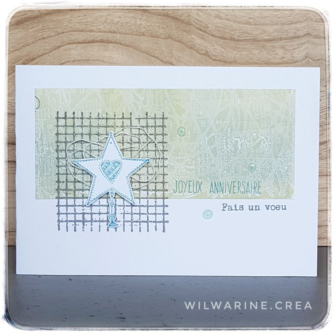 carte d'anniversaire, carterie, gel press, carabelle, distress oxides, nuvo dots, fait main, vert, gris, étoile