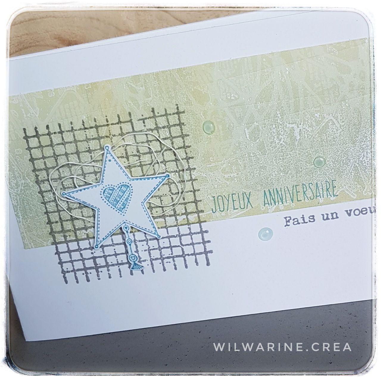 carte d'anniversaire, carterie, gel press, art printing, carabelle, distress oxide, vert, gris, fait main