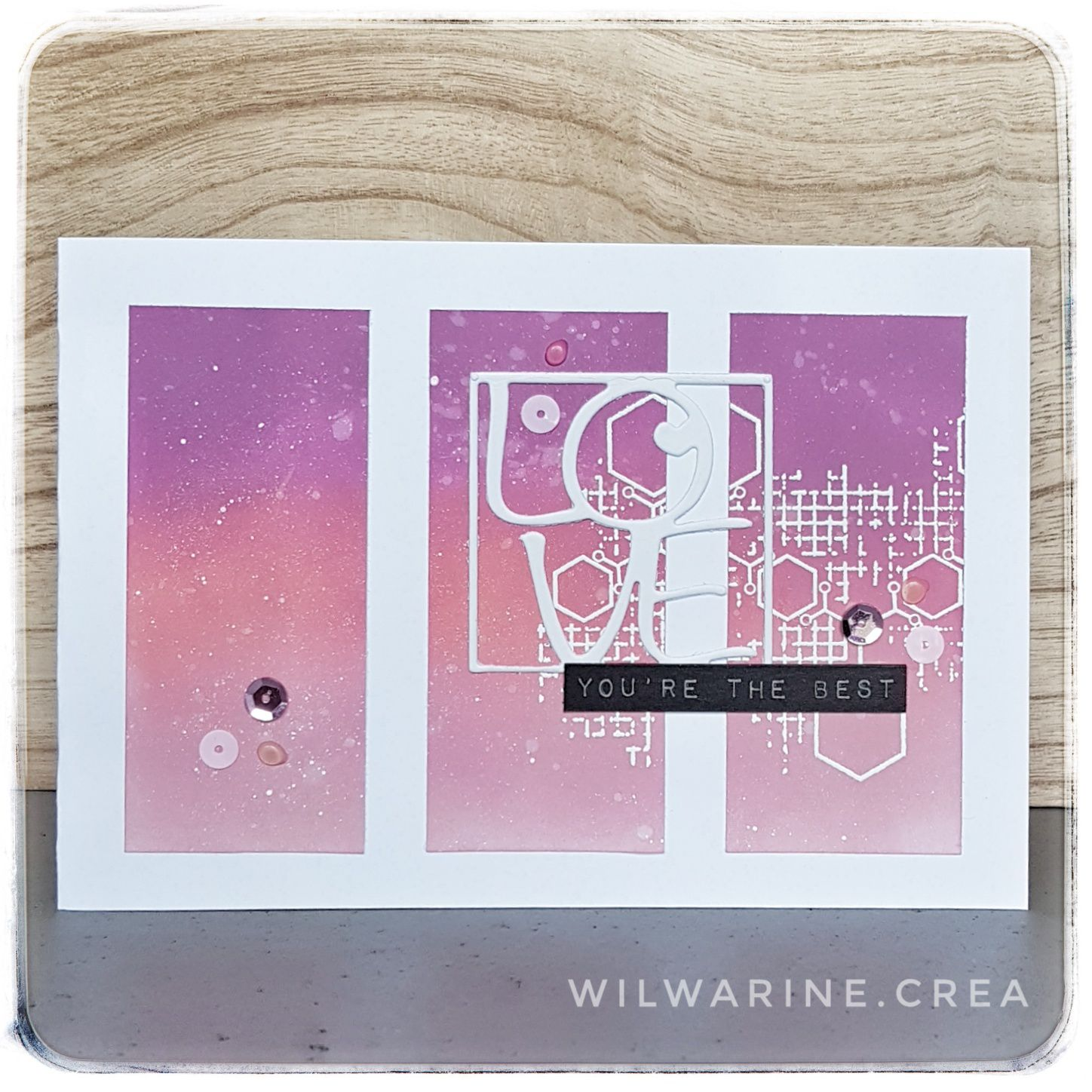 carte love, rose, mauve, distress oxide, embossage blanc