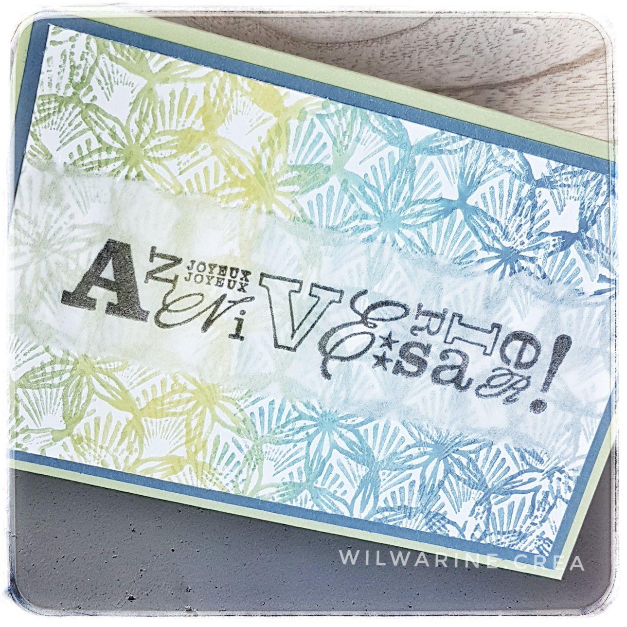 carte maniak, carte d'anniversaire, bleu, vert, papier de soie, carabelle studio, encre mémento, versafine noire, Kési'art