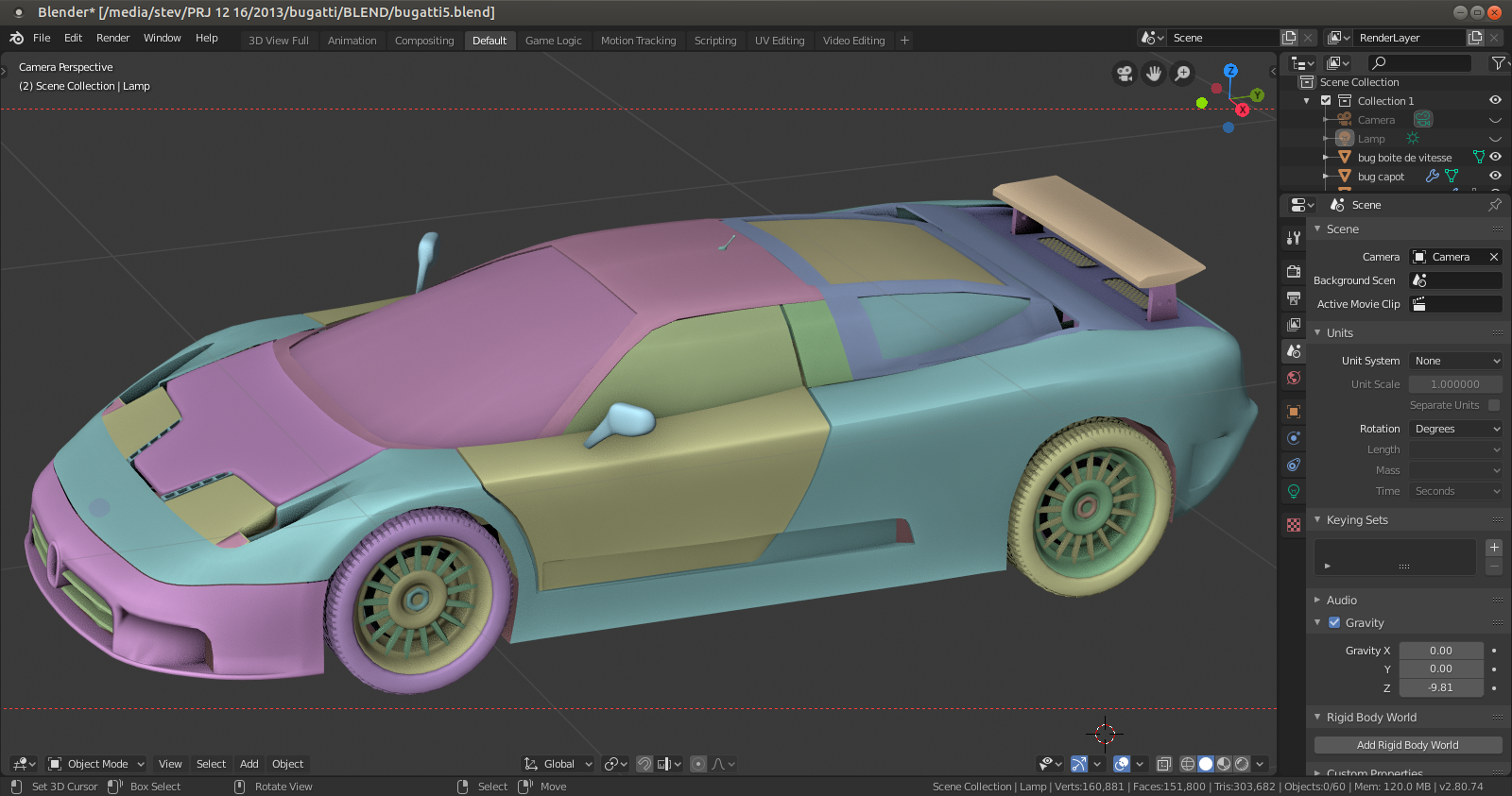 Blender 2.8 - Interface - logiciel 3d - voiture de sport