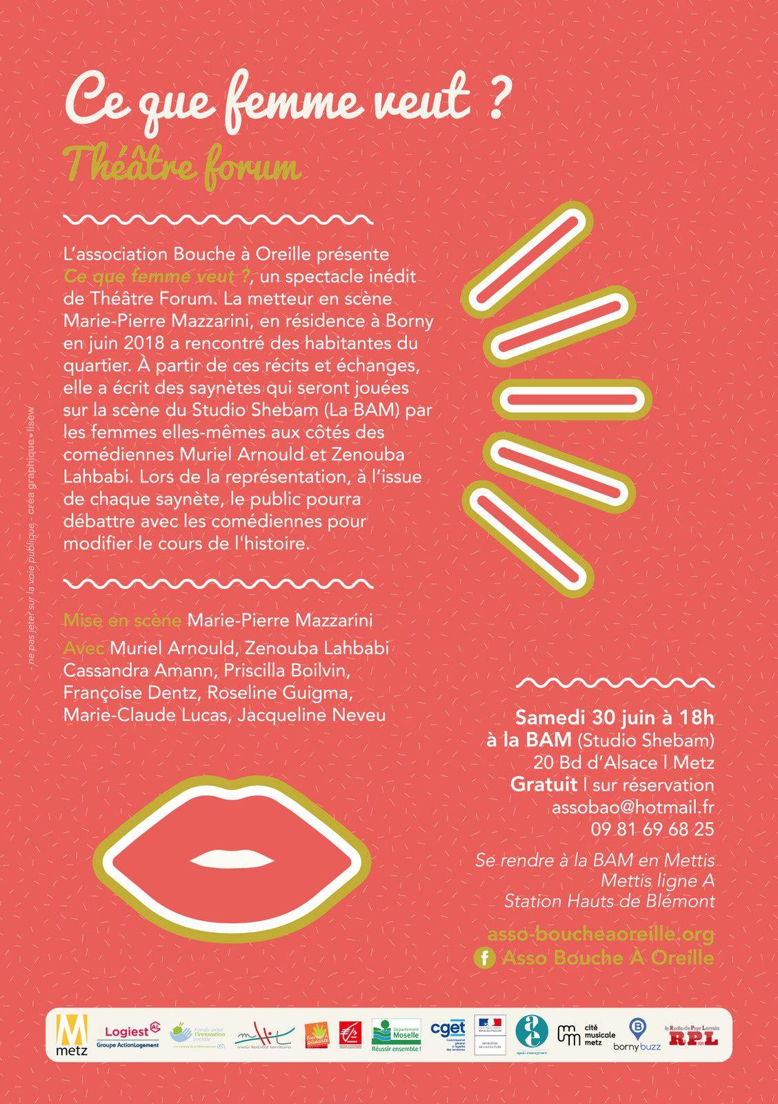 """Metz Borny """"Ce que femme veut ?"""" - Théâtre Forum le Samedi 30 juin"""