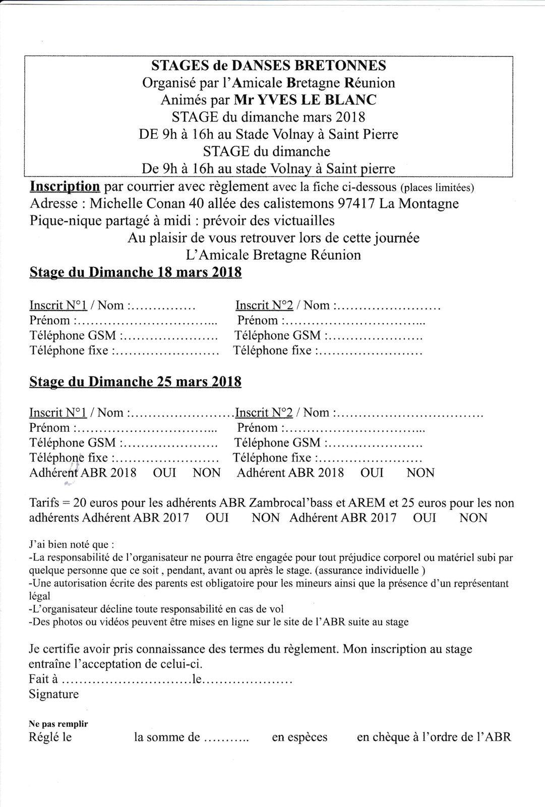 STAGES de DANSE avec Yves LEBLANC les dimanches 18 et 25 mars 2018