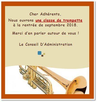 Nouvel atelier : cours de trompette