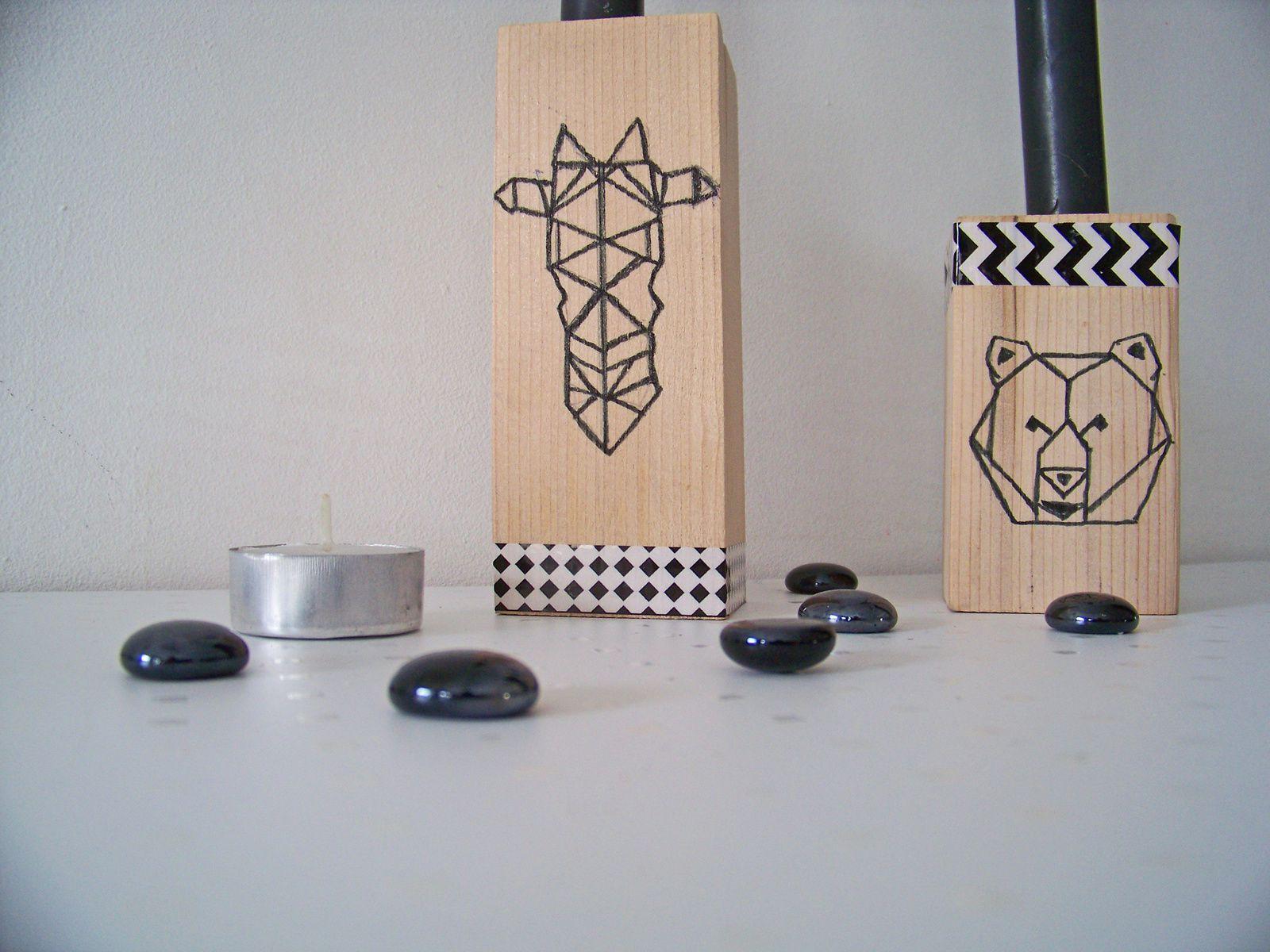 Motifs origami sur  bougeoirs en bois  !