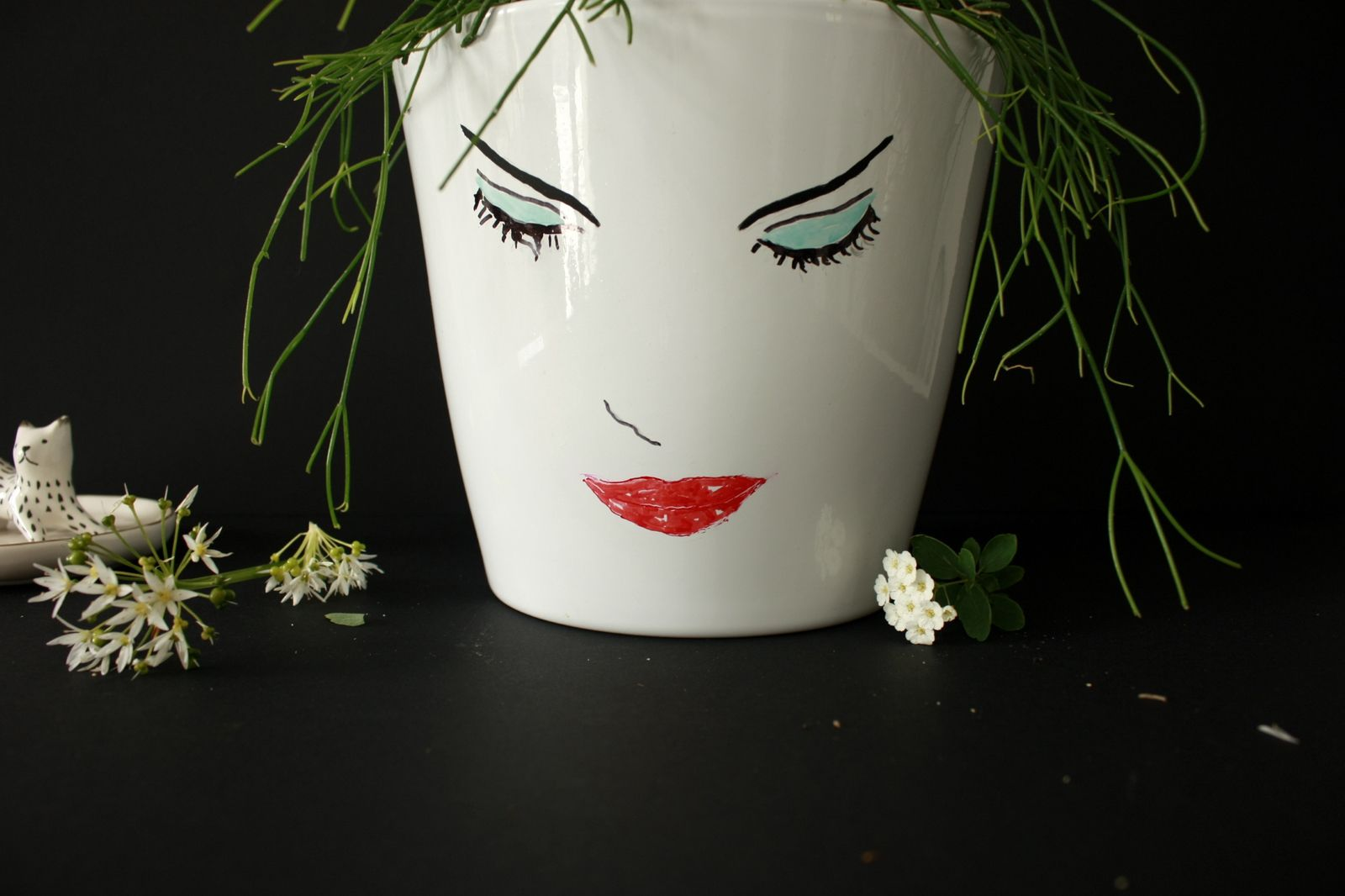 Customiser un pot de fleur ,esquisse en noir et blanc  !!