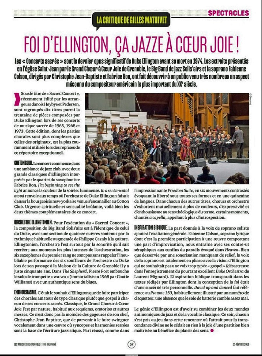 Critique du concert Sacred Ellington du Grand Chœur ACJ de Grenoble