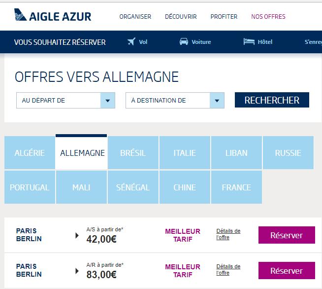Aigle Azur : Algerie (A/R) Vs Portugal (Aller) Vs Allemagne (Aller)