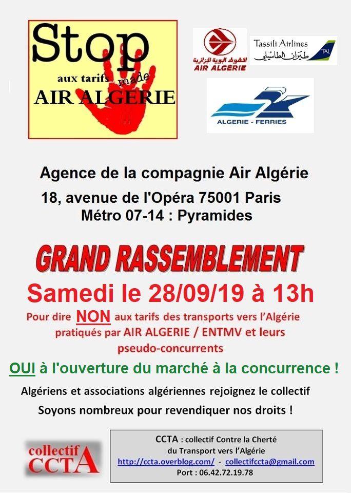 Appel à rassemblement devant Air Algérie à Opéra le 28/09/2019 à 13h