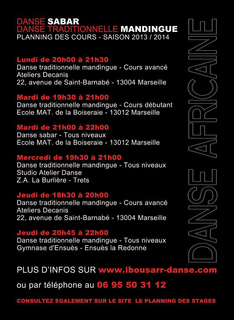 Cours de danse africaine avec Ibou Sarr - Saison 2013 / 2014