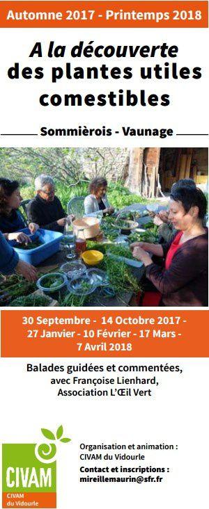 inscriptions pour les sorties de découverte des plantes sauvages comestibles avec le CIVAM du Vidourle